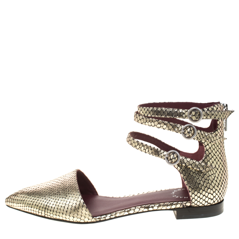 Купить со скидкой Marc by Marc Jacobs Metallic Gold Embossed Snakeskin Leather Minetta Ankle Strap Flat Sandals Size 3