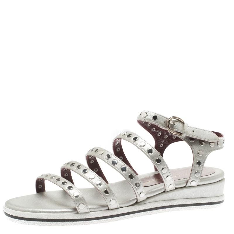 673673450800 Buy Marc by Marc Jacobs Metallic Silver Leather Gena Studded Ankle ...