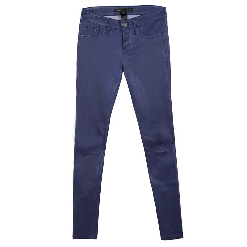 Купить со скидкой Marc by Marc Jacobs Violet Bloom Lambskin Leather Skinny Jeans S