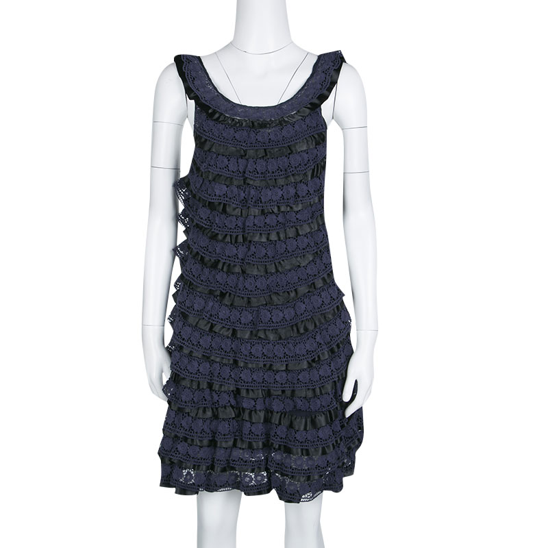 Marc By Marc Jacobs Navy Blue Lace Tiered Dress Xs
