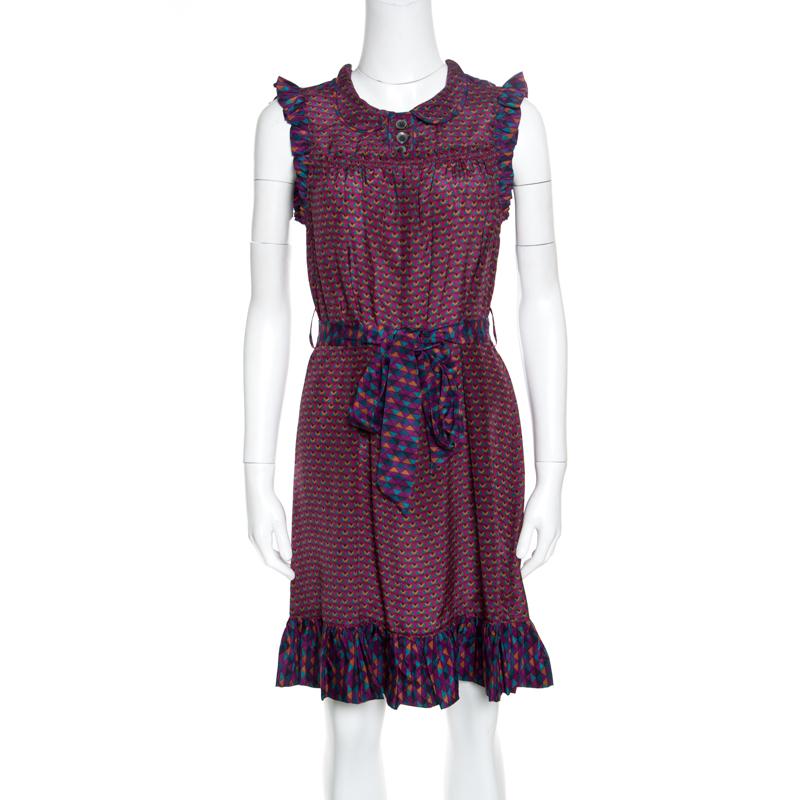 Купить со скидкой Marc by Marc Jacobs Multicolor Printed Silk Ruffled Trim Belted Dress XS