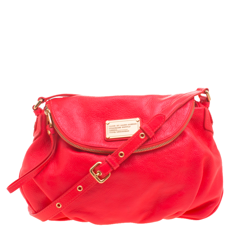 42da78b70be Marc by Marc Jacobs Neon Red Leather Classic Q Natasha Crossbody Bag