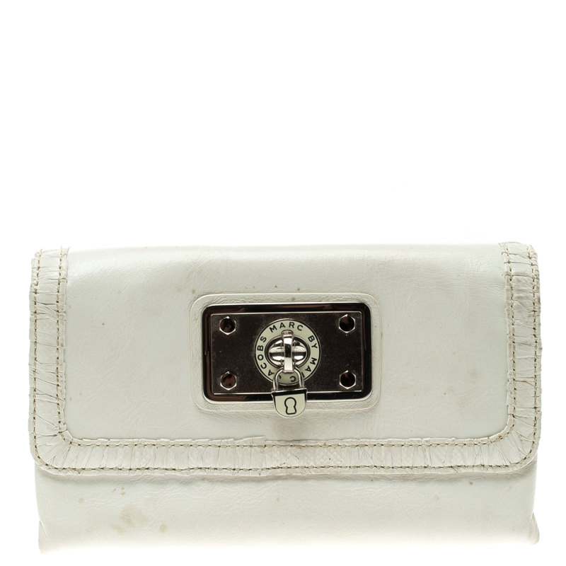 c6c00879b7 Buy Marc by Marc Jacobs White Leather Tri Fold Long Wallet 119085 at ...