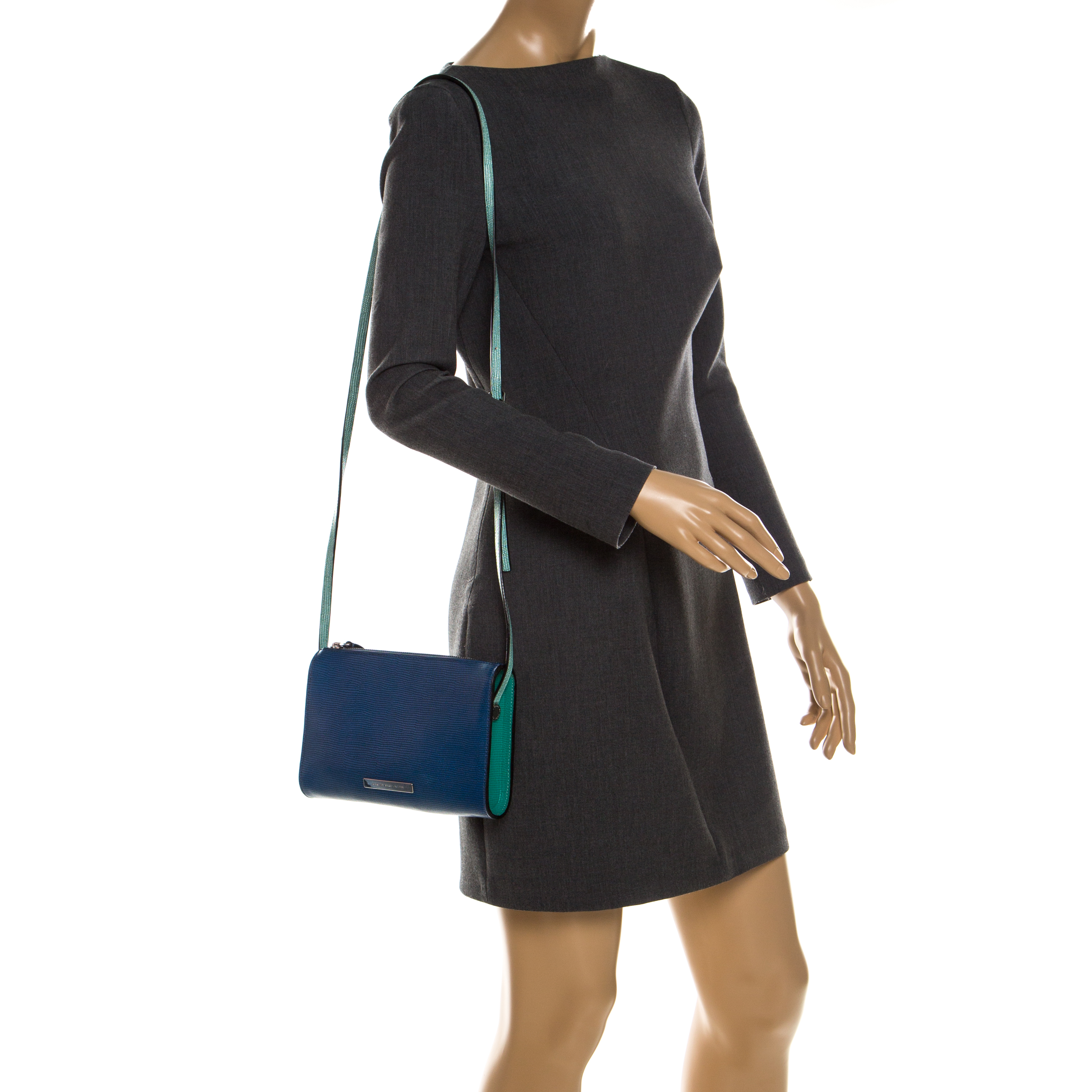 Marc By Marc Jacobs Blue/Green Stingray Embossed Leather Queens Night Out Ellen Crossbody Bag