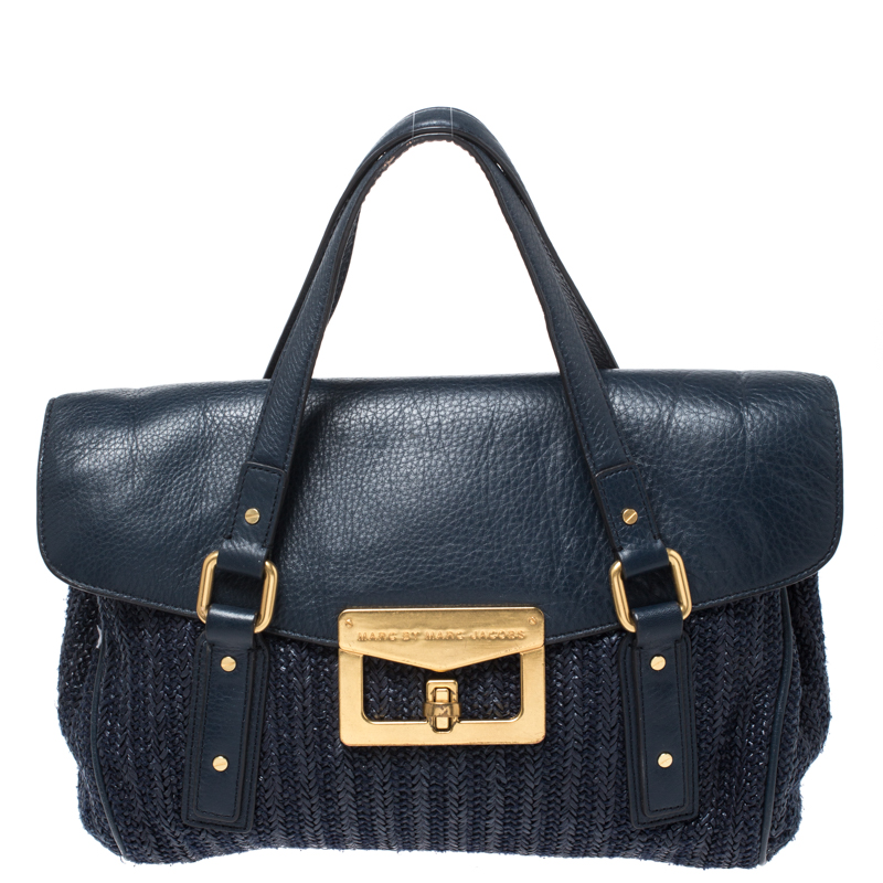 Marc By Marc Jacobs Blue Straw And Leather Flap Satchel