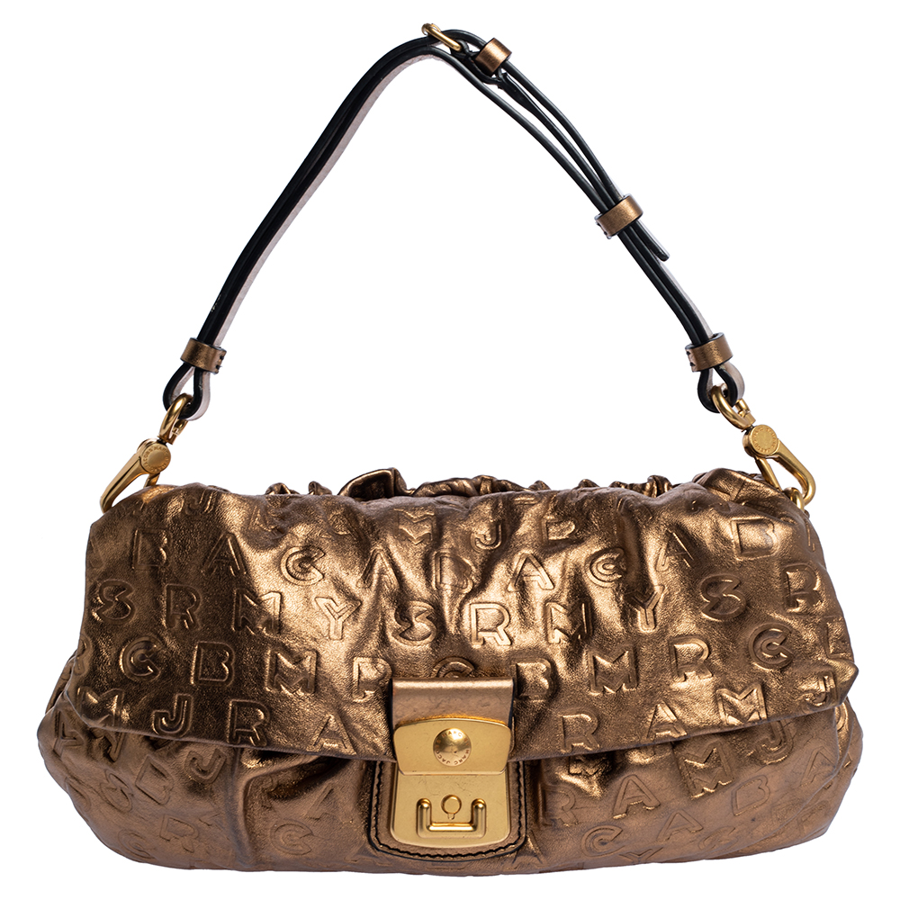 Pre-owned Marc By Marc Jacobs Metallic Gold Monogram Leather Shoulder Bag