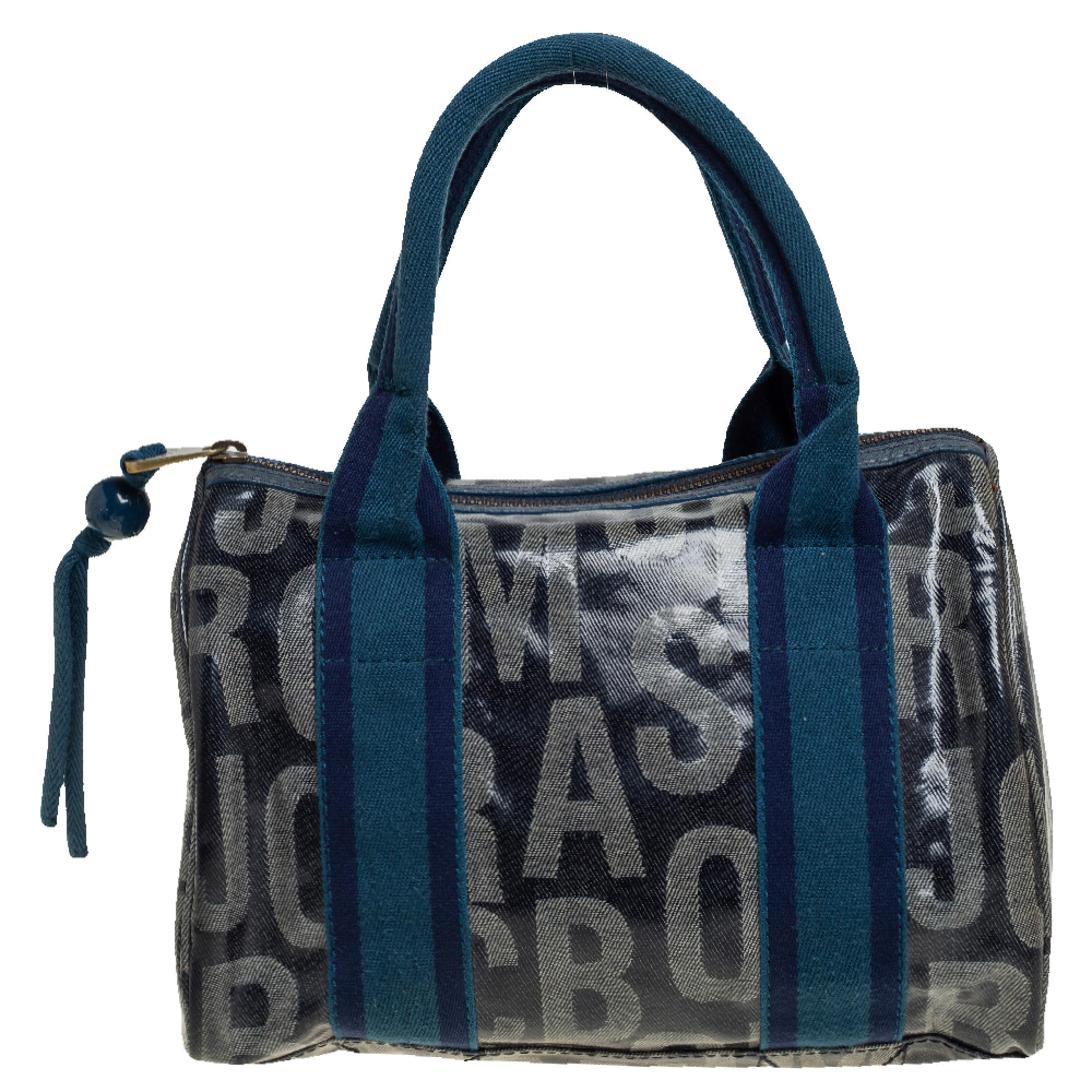 Pre-owned Marc By Marc Jacobs Blue Coated Canvas Alphabet Bowler Bag