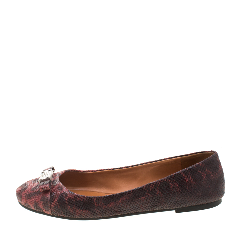 Marc by Marc Jacobs Burgundy Embossed Lizard Leather Tuxedo Logo Ballet Flats Size