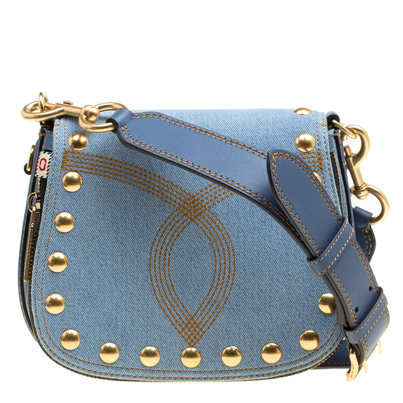 Marc Jacobs Blue Denim Small Studded Nomad Crossbody Bag 155285 c929cbc4bc10b