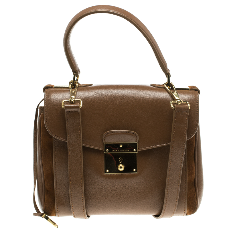 9b46edbb58a4 Marc Jacobs Brown Leather Metropolitan Top Handle Bag 115700 At