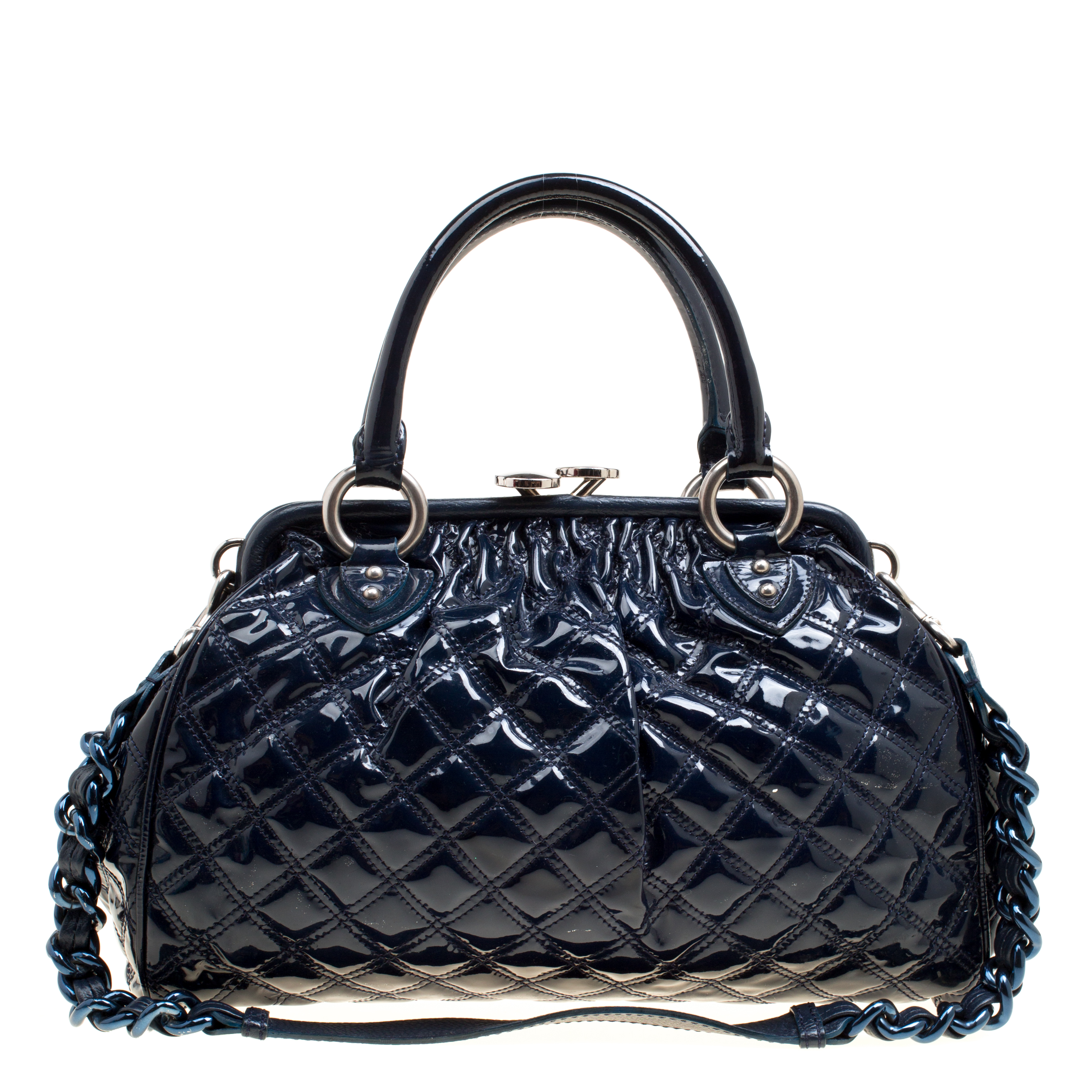 f50ad6b4a8 ... Marc Jacobs Dark Blue Quilted Patent Leather Stam Top Handle Shoulder  Bag. nextprev. prevnext