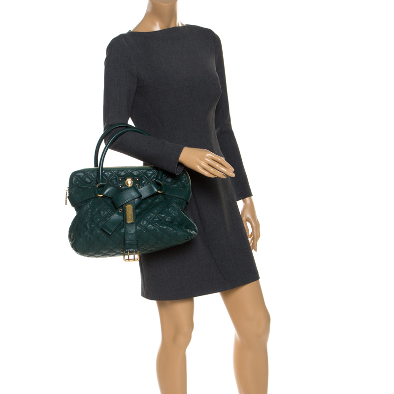 Marc Jacobs Dark Green Quilted Leather Bruna Belted Tote