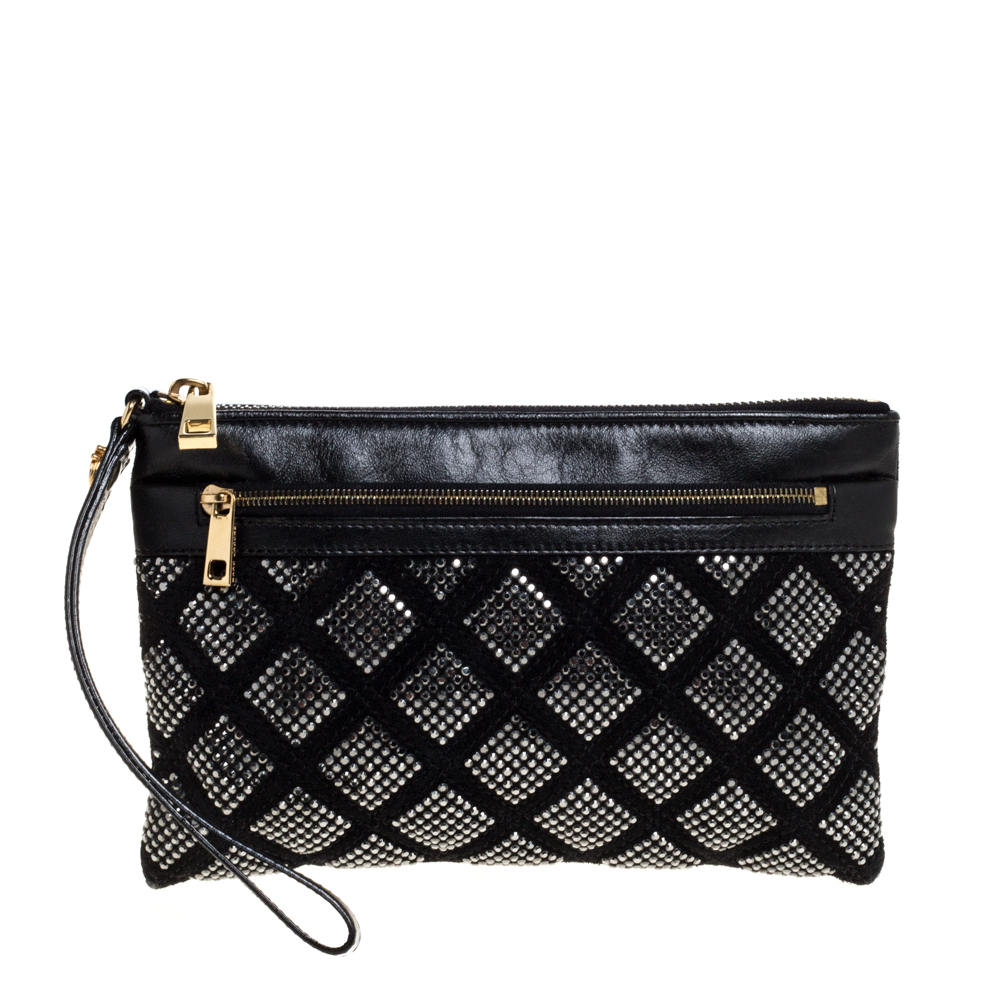 Pre-owned Marc Jacobs Black Crystal Embellished Quilted Suede And Leather Pouch