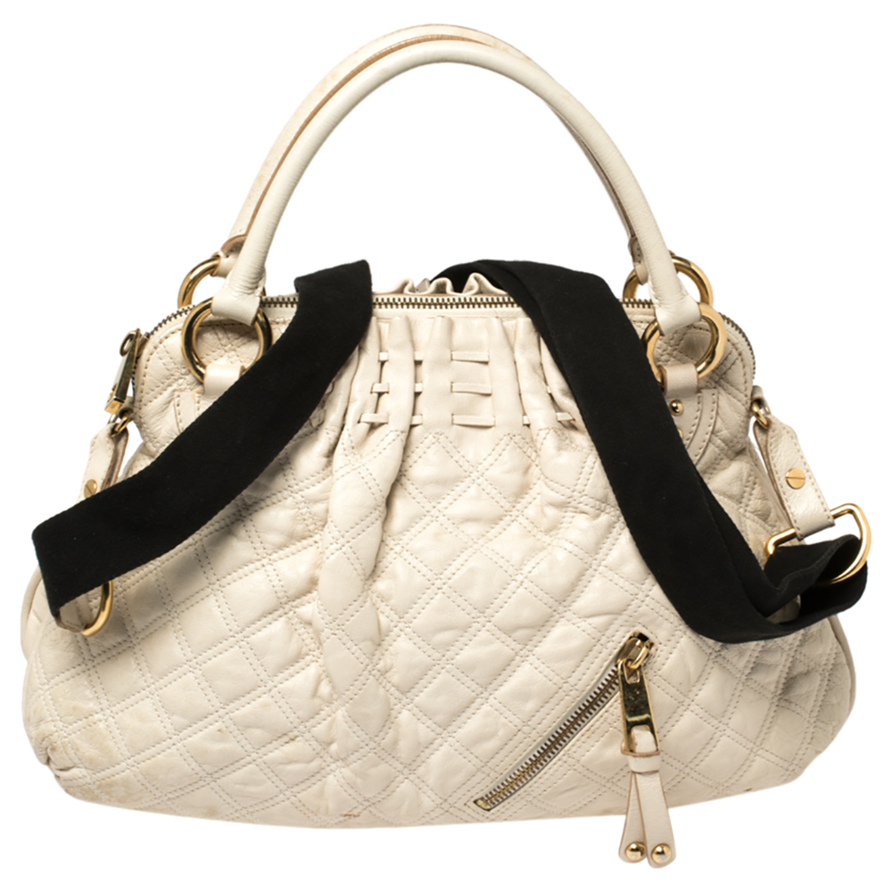 Pre-owned Marc Jacobs Cream Quilted Leather Cecilia Satchel