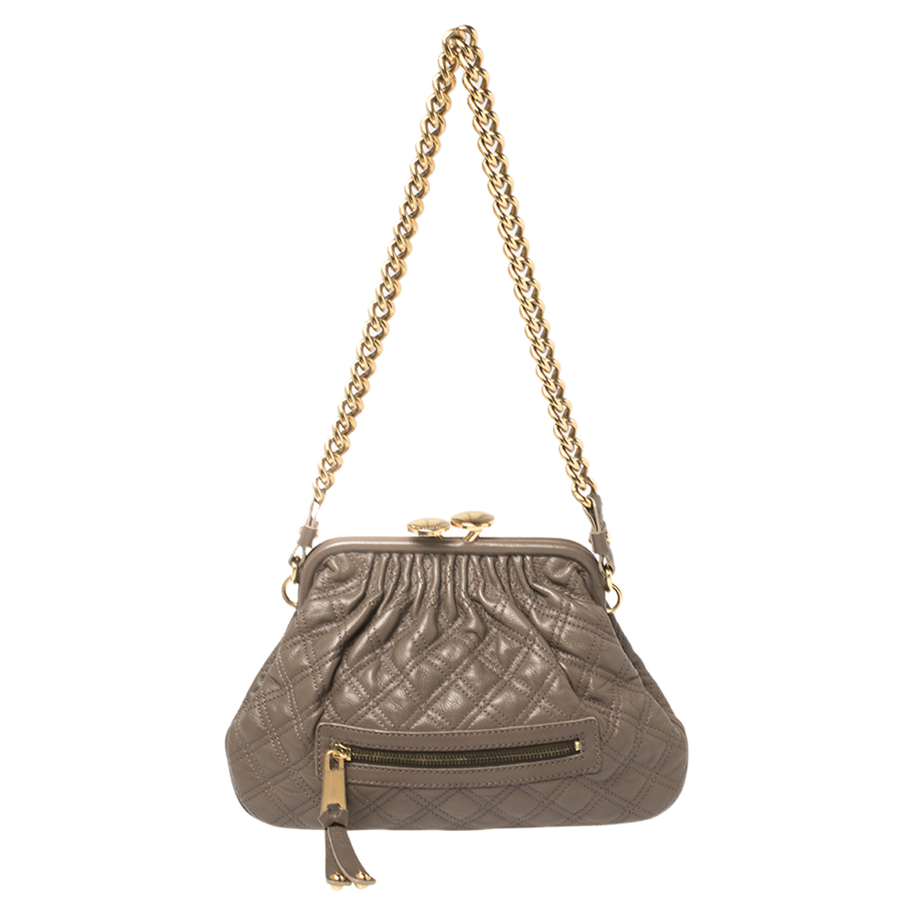 Pre-owned Marc Jacobs Taupe Quilted Leather Little Stam Shoulder Bag In Grey