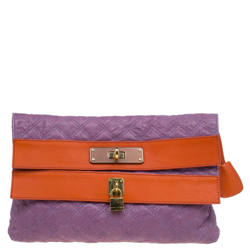 Купить со скидкой Marc Jacobs Purple/Orange Quilted Leather Oversized Clutch
