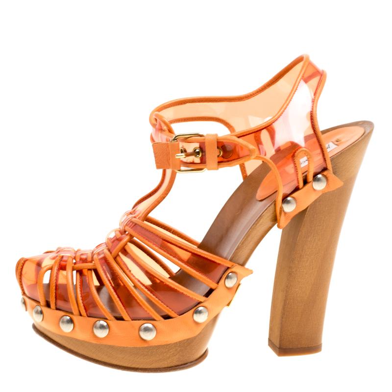 Marc Jacobs en PVC Orange Et Cuir T-Strap Bouchent Sandales Taille 35