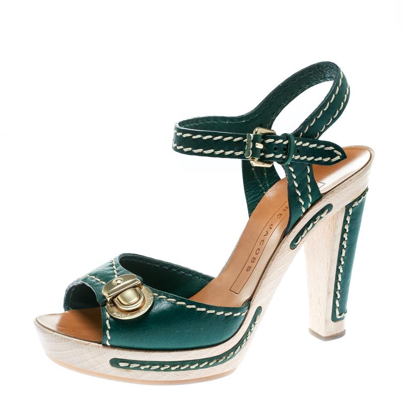 Marc Jacobs Green Leather Buckle Detail Ankle Strap Wooden Platform Sandals Size 36