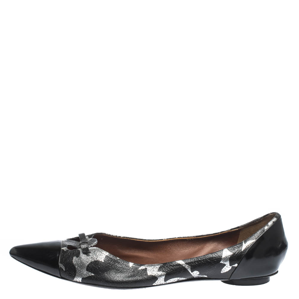 Marc Jacobs Black/Silver Leather And Patent Pointed Toe Bow Ballet Flats Size 40