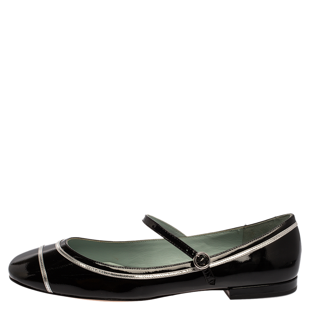 Marc Jacobs Black/ Silver Patent Leather Poppy Mary Jane Ballerina Flat Size 40