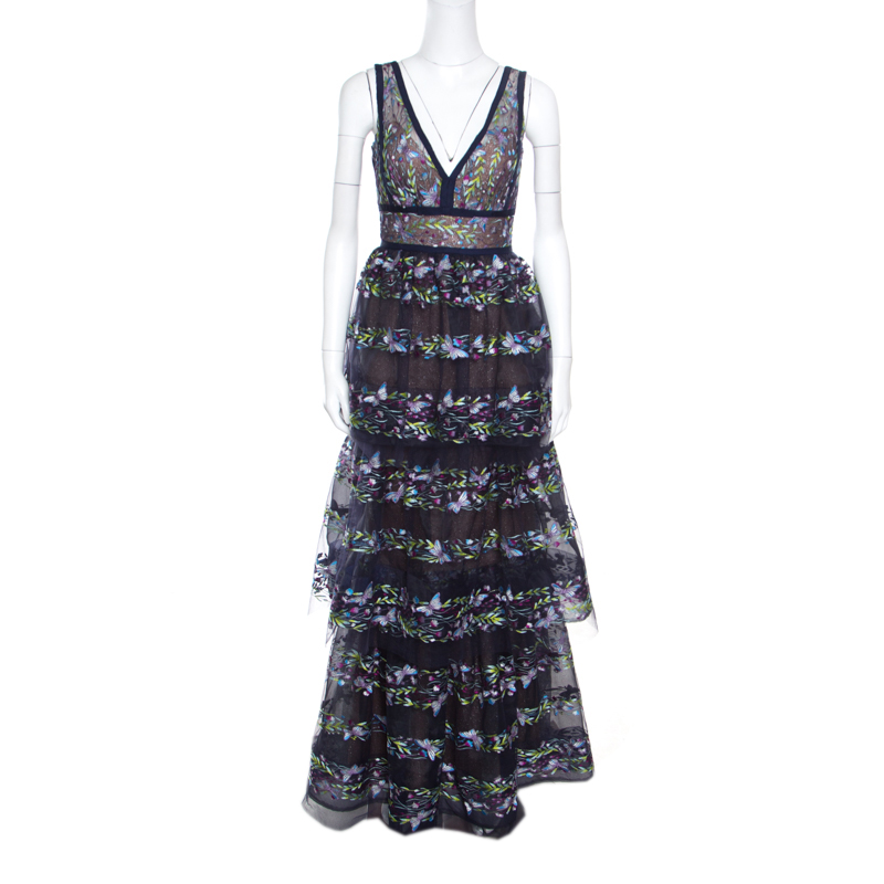 56ddfaa18d ... Marchesa Notte Blue Tiered Floral and Butterfly Embroidered Evening  Gown XS. nextprev. prevnext