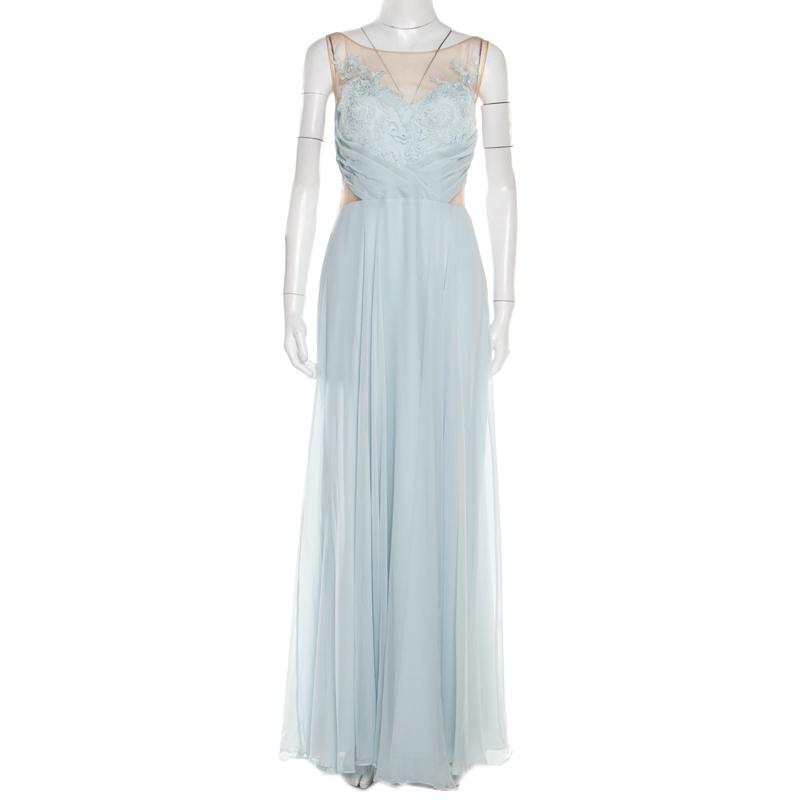 f9f9f78947 ... Marchesa Notte Blue Embellished Embroidered Silk Sheer Panel Detail Gown  L. nextprev. prevnext