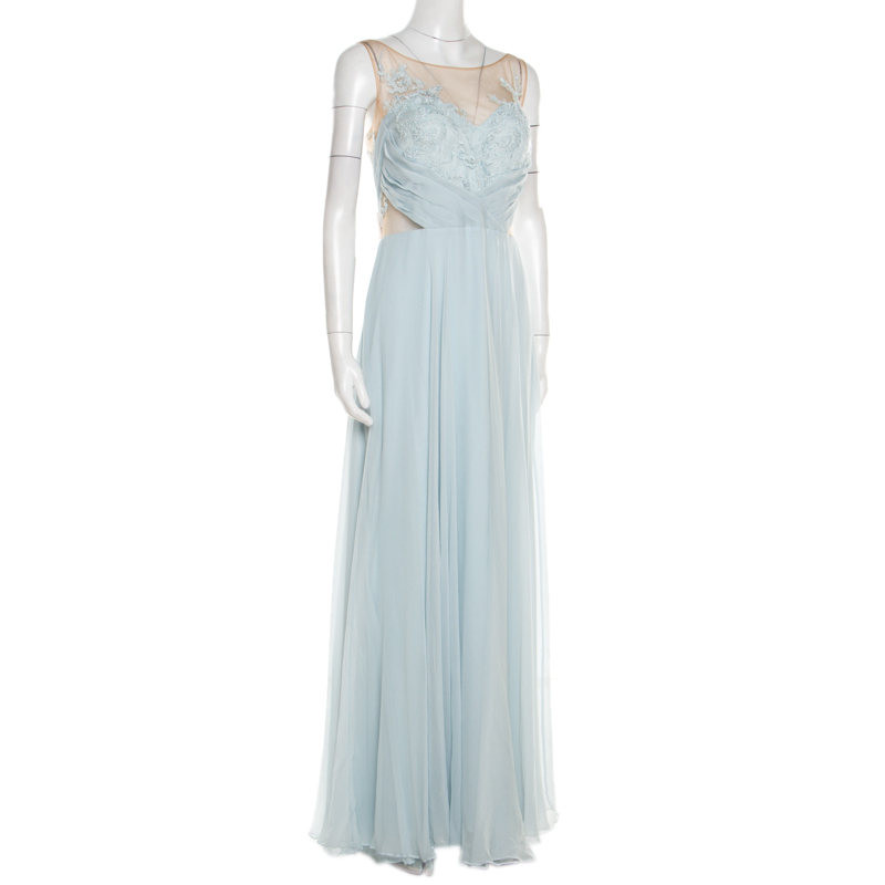 Marchesa Notte Blue Embellished Embroidered Silk Sheer Panel Detail Gown