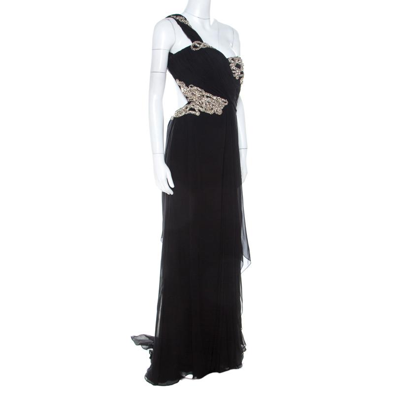 Marchesa Black Silk Embellished Bodice Evening Gown