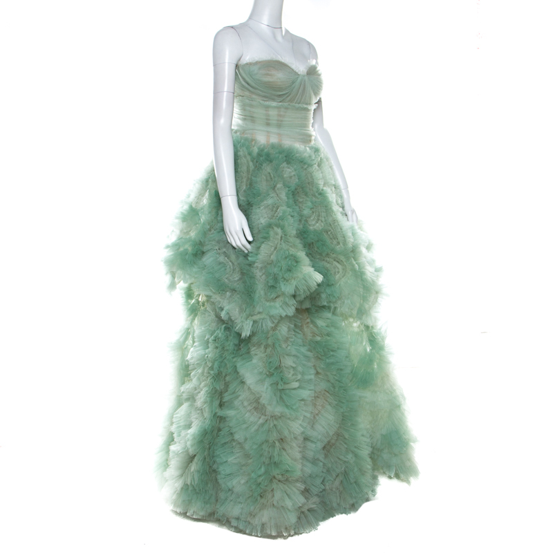 Marchesa Pale Green Tulle Embellished Detail Strapless Gown