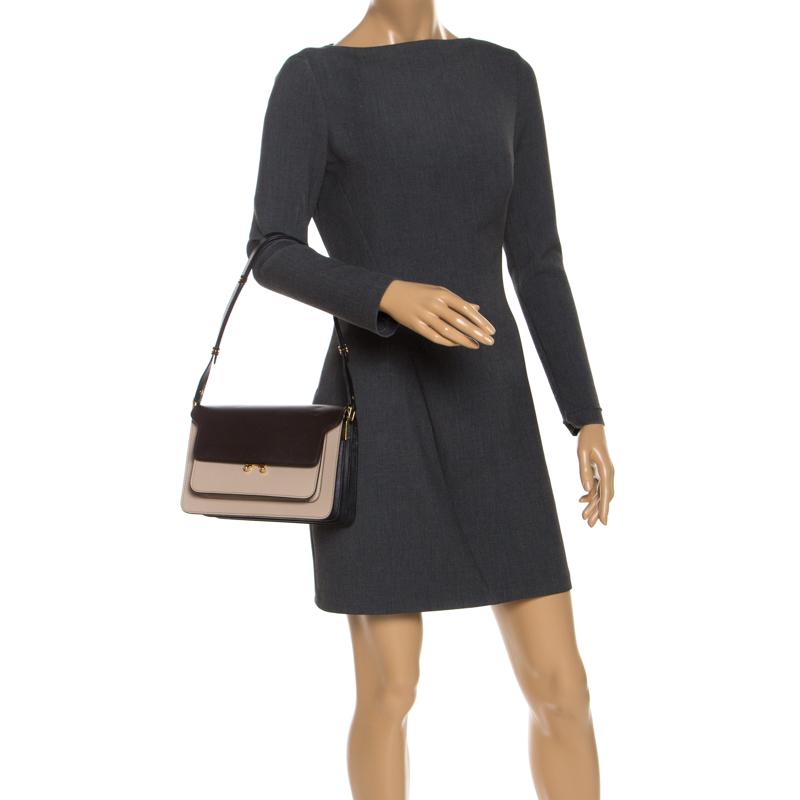 Marni Tri Color Leather Medium Trunk Shoulder Bag, Beige