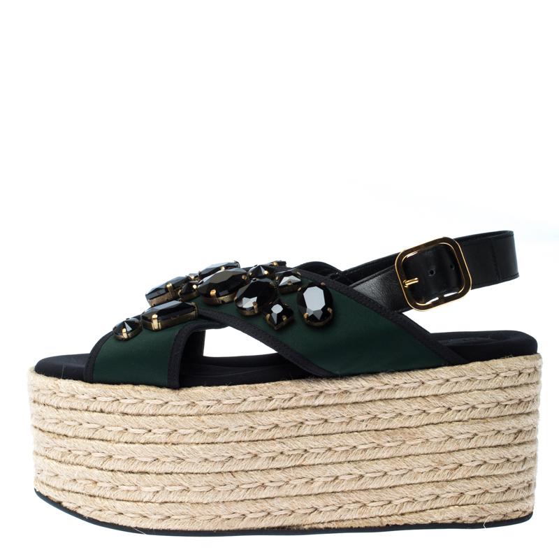Marni En Cuir Noir Et Tissu Vert Cristal Orné Slingback Platform Espadrille Sandales Plates Taille 40