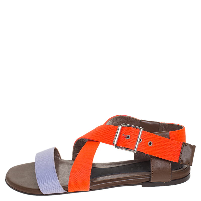 Marni Lavande/Neon Orange Criss Cross Sandales Plates De Taille 36.5