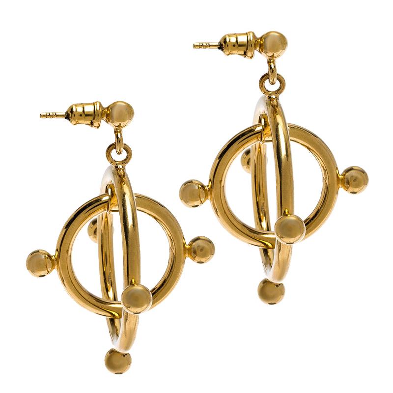 Marni Double Cercle Hoop Tons D'Or, Boucles D'Oreilles