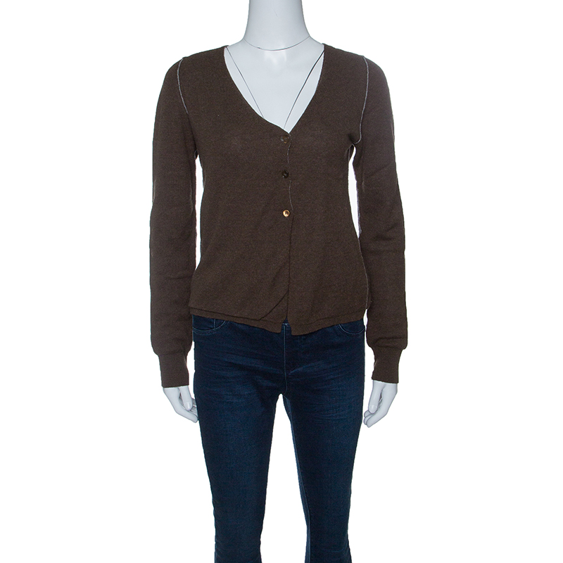 Marni Brown and Grey Cashmere Ribbed Trim Cropped Cardigan M