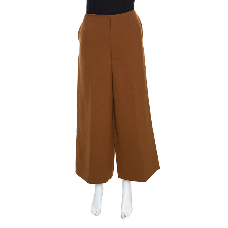 Купить со скидкой Marni Brown Wool High Rise Wide Leg Culottes M