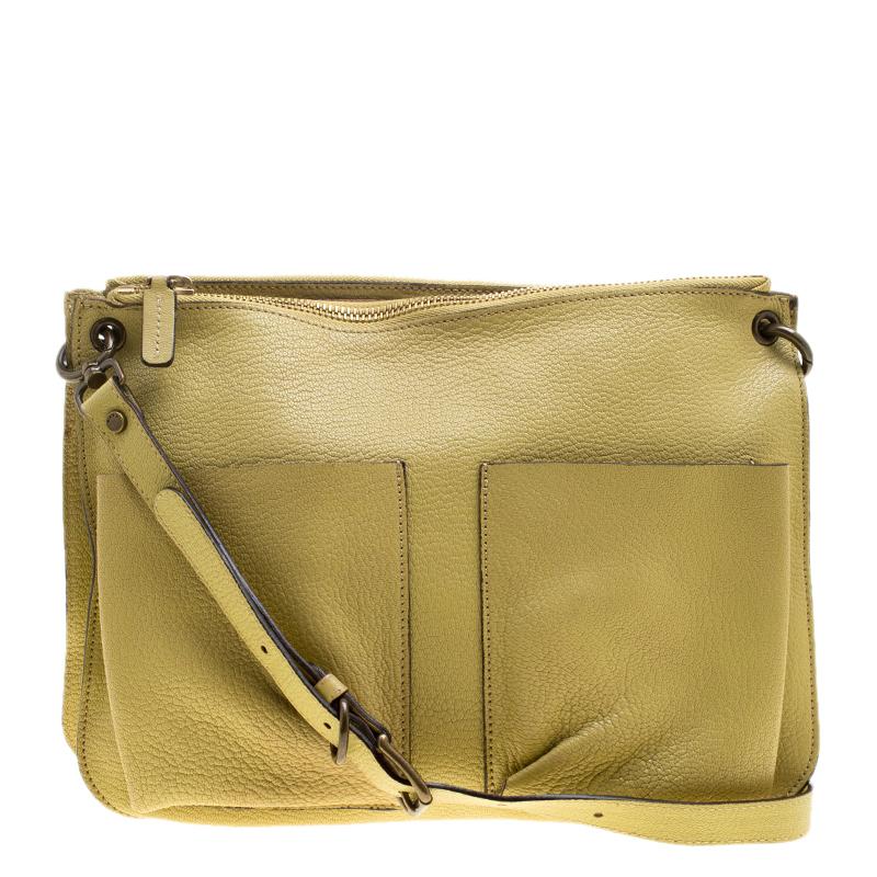 latest sale how to choose men/man Marni Yellow Green Leather Bandoleer Crossbody Bag