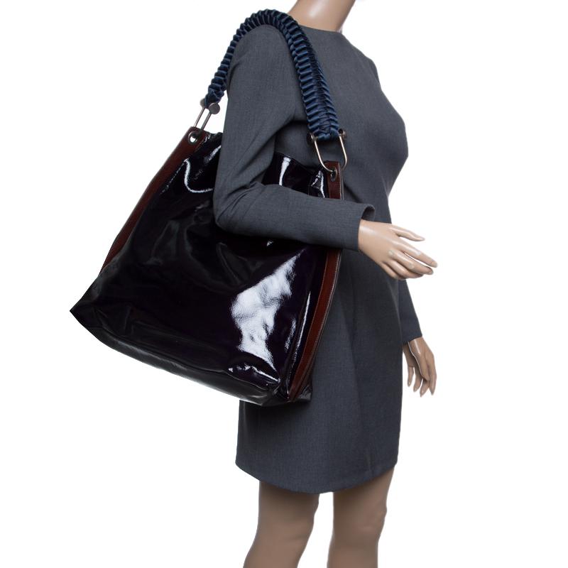 Marni Black/Brown Patent Leather Tote