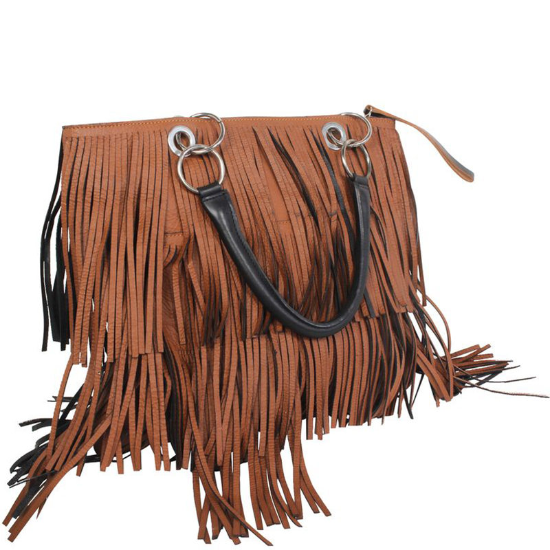 Marni Brown Leather With Fringes Tote Bag
