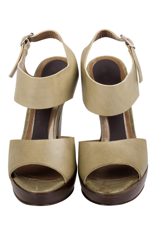 Marni Vert Olive En Cuir De Plate-Forme Slingback Sandales Taille 38
