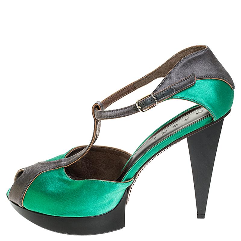 Marni Vert/Gris Satin Peep Toe T Sangle Plate-Forme Sandales Taille 40.5