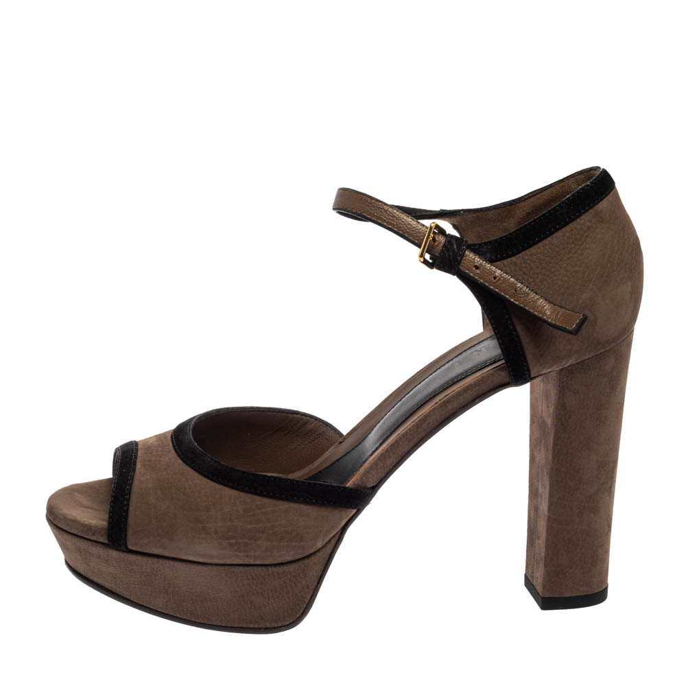 Marni Brown/Black Leather And Suede Ankle Strap Sandals Size 40  - buy with discount