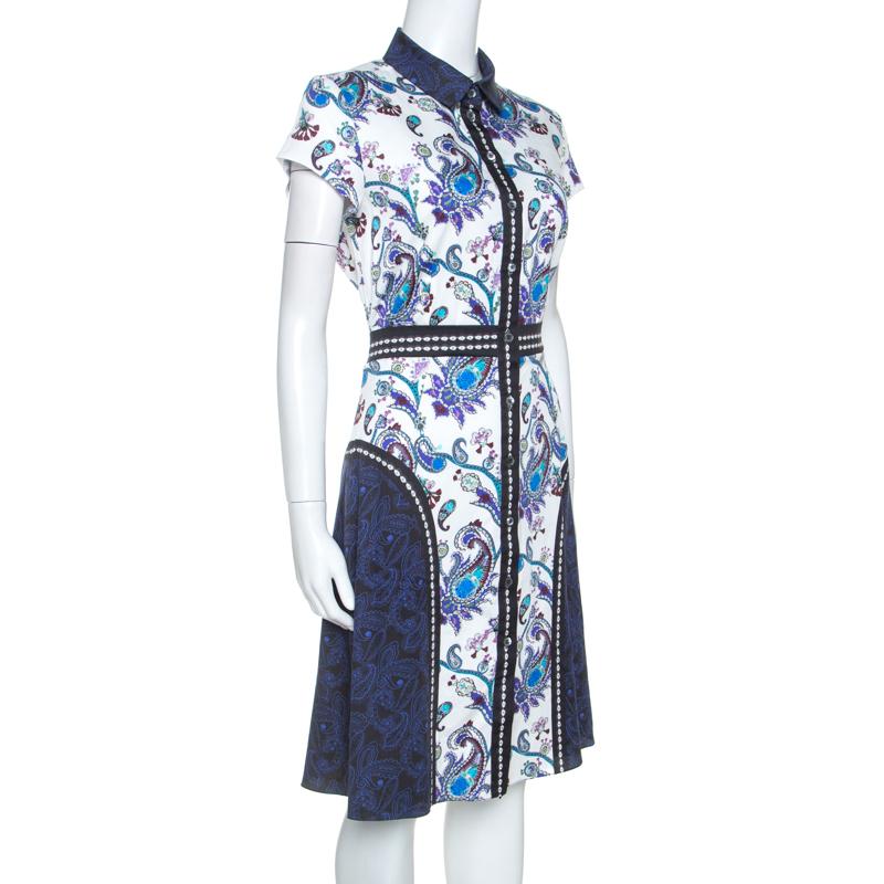 Mary Katrantzou Multicolore Imprimé En Coton Stretch Robe Chemise M