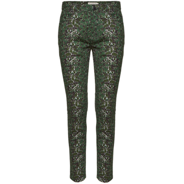 Mary Katrantzou Peacock Green Printed Skinny Jeans M