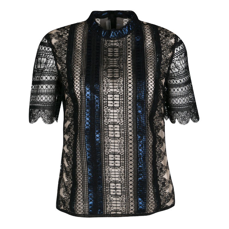 Mary Katrantzou Black Chestripe Lace Metallic Trim Short Sleeve Top M