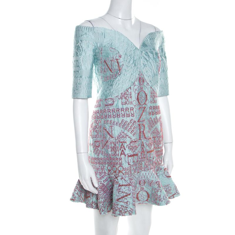 Mary Katrantzou Mint Bleu Jacquard et des Paillettes De Beau Robe de Cocktail M