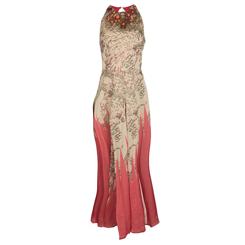 5d9814526ef ... Matthew Williamson Floral Print Silk Embellished Neck Sleeveless Maxi  Dress M. nextprev. prevnext