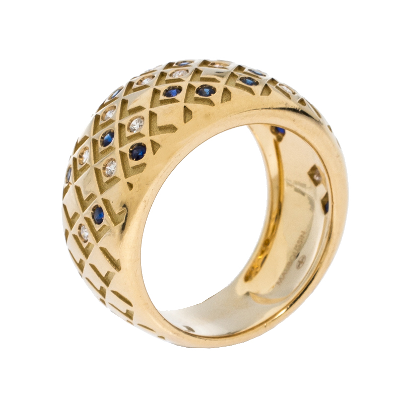 Mauboussin Salomé Paved Diamonds and Sapphires 18K Yellow Gold Ring Size EU 52