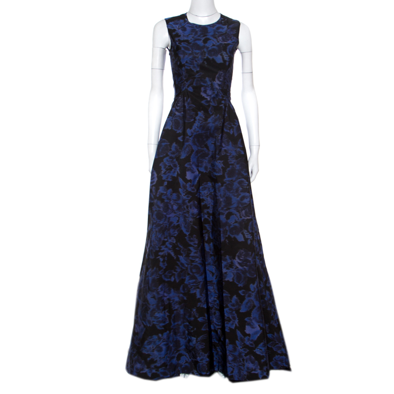 ec4256c3fa7 ... Max Mara Black and Blue Printed Sleeveless Acinoso Gown S. nextprev.  prevnext