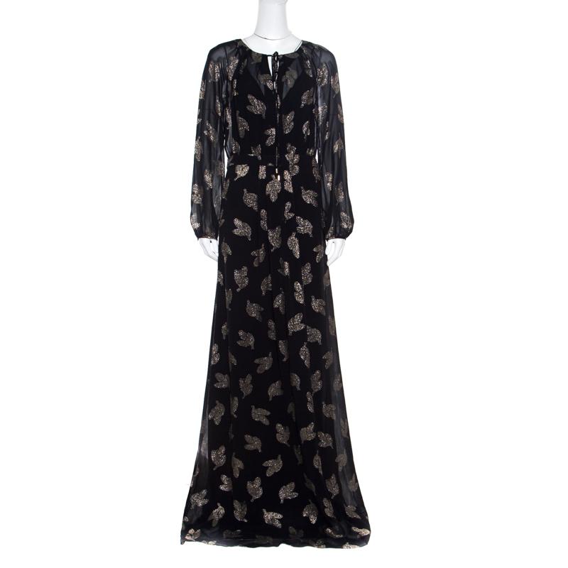 d98df07b098 ... Max Mara Black Lurex Leaf Patterned Golena Maxi Dress S. nextprev.  prevnext