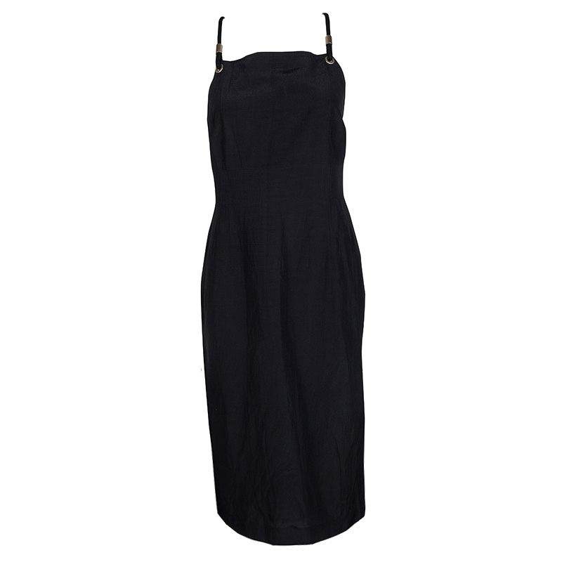 Buy Max Mara Black Rope Strap Detail Sleeveless Midi Dress S 120126